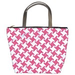 HOUNDSTOOTH2 WHITE MARBLE & PINK DENIM Bucket Bags Front
