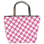 HOUNDSTOOTH2 WHITE MARBLE & PINK DENIM Bucket Bags Back