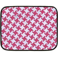 Houndstooth2 White Marble & Pink Denim Fleece Blanket (mini) by trendistuff