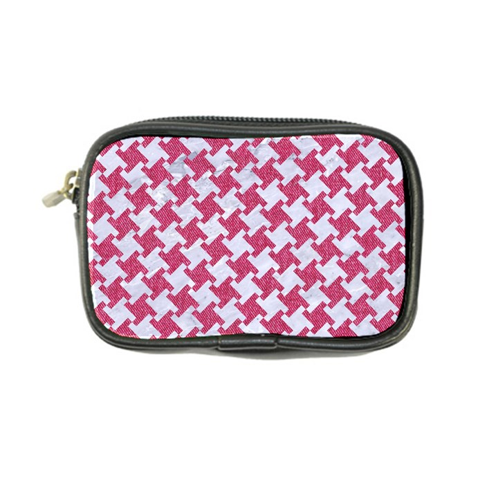 HOUNDSTOOTH2 WHITE MARBLE & PINK DENIM Coin Purse