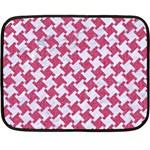 HOUNDSTOOTH2 WHITE MARBLE & PINK DENIM Double Sided Fleece Blanket (Mini)  35 x27 Blanket Front