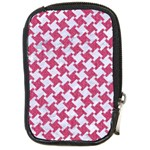 HOUNDSTOOTH2 WHITE MARBLE & PINK DENIM Compact Camera Cases Front
