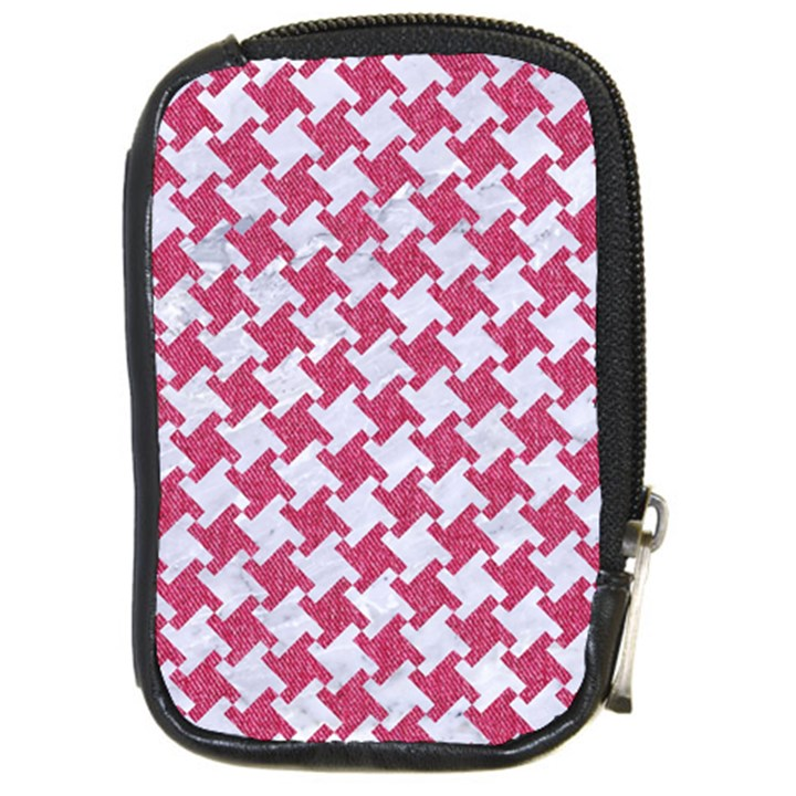 HOUNDSTOOTH2 WHITE MARBLE & PINK DENIM Compact Camera Cases