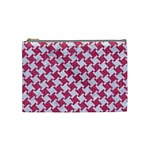 HOUNDSTOOTH2 WHITE MARBLE & PINK DENIM Cosmetic Bag (Medium)  Front