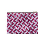 HOUNDSTOOTH2 WHITE MARBLE & PINK DENIM Cosmetic Bag (Medium)  Back