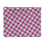 HOUNDSTOOTH2 WHITE MARBLE & PINK DENIM Cosmetic Bag (XL) Front