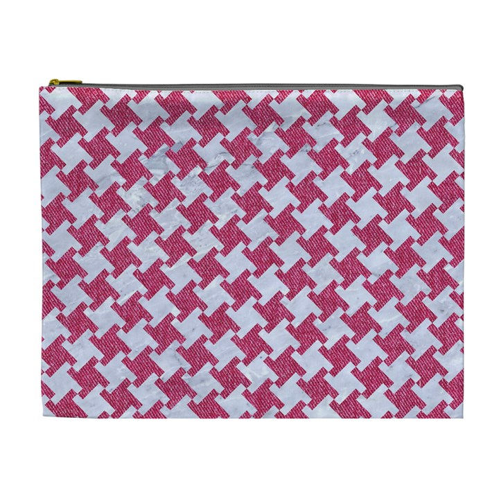 HOUNDSTOOTH2 WHITE MARBLE & PINK DENIM Cosmetic Bag (XL)