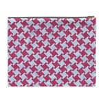 HOUNDSTOOTH2 WHITE MARBLE & PINK DENIM Cosmetic Bag (XL) Back
