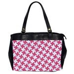 HOUNDSTOOTH2 WHITE MARBLE & PINK DENIM Office Handbags (2 Sides)  Front