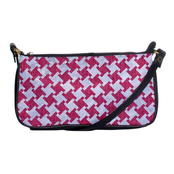 HOUNDSTOOTH2 WHITE MARBLE & PINK DENIM Shoulder Clutch Bags