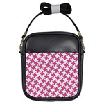 HOUNDSTOOTH2 WHITE MARBLE & PINK DENIM Girls Sling Bags Front