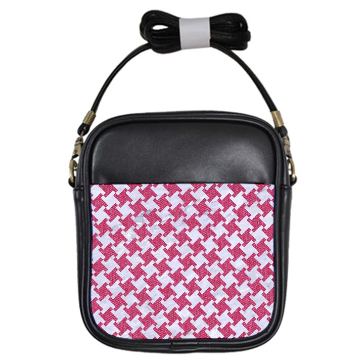 HOUNDSTOOTH2 WHITE MARBLE & PINK DENIM Girls Sling Bags