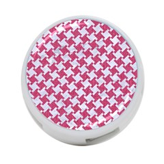 Houndstooth2 White Marble & Pink Denim 4 Port Usb Hub (one Side)