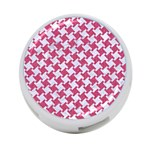 HOUNDSTOOTH2 WHITE MARBLE & PINK DENIM 4-Port USB Hub (One Side) Front