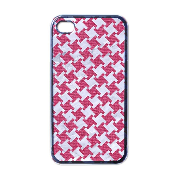 HOUNDSTOOTH2 WHITE MARBLE & PINK DENIM Apple iPhone 4 Case (Black)