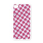 HOUNDSTOOTH2 WHITE MARBLE & PINK DENIM Apple iPhone 4 Case (White) Front