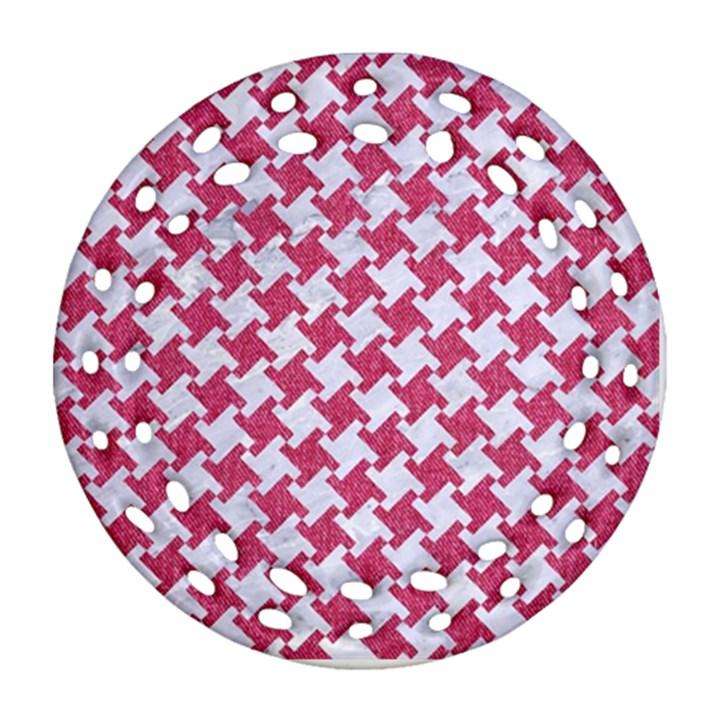 HOUNDSTOOTH2 WHITE MARBLE & PINK DENIM Ornament (Round Filigree)