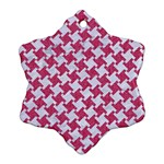 HOUNDSTOOTH2 WHITE MARBLE & PINK DENIM Ornament (Snowflake) Front