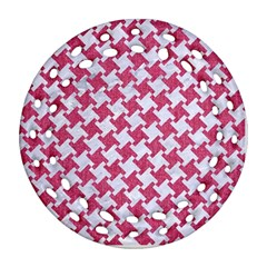 Houndstooth2 White Marble & Pink Denim Round Filigree Ornament (two Sides)