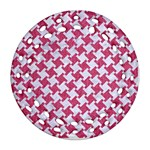 HOUNDSTOOTH2 WHITE MARBLE & PINK DENIM Round Filigree Ornament (Two Sides) Back