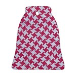 HOUNDSTOOTH2 WHITE MARBLE & PINK DENIM Bell Ornament (Two Sides) Back