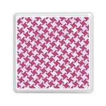 HOUNDSTOOTH2 WHITE MARBLE & PINK DENIM Memory Card Reader (Square)  Front