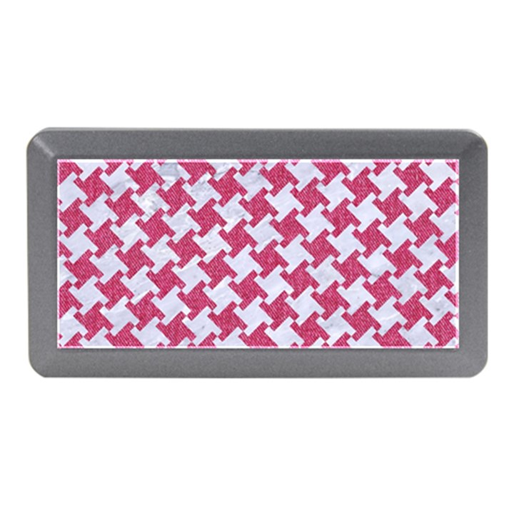 HOUNDSTOOTH2 WHITE MARBLE & PINK DENIM Memory Card Reader (Mini)