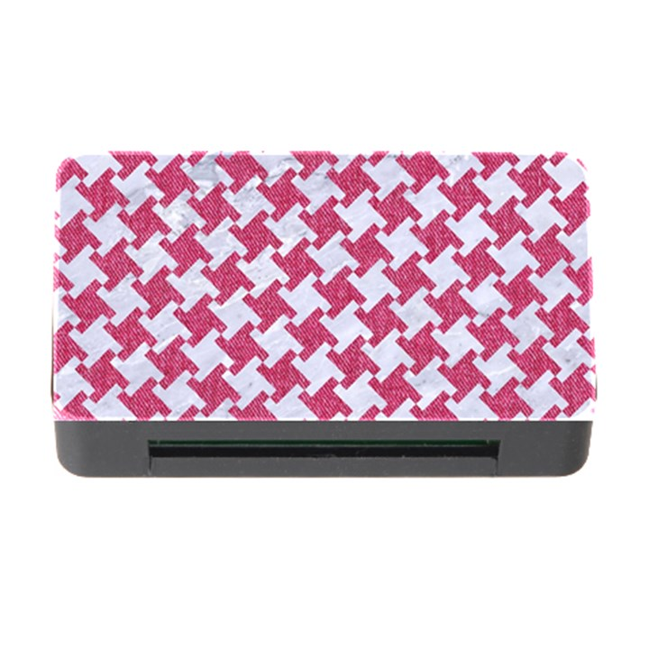 HOUNDSTOOTH2 WHITE MARBLE & PINK DENIM Memory Card Reader with CF
