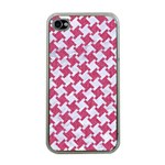 HOUNDSTOOTH2 WHITE MARBLE & PINK DENIM Apple iPhone 4 Case (Clear) Front