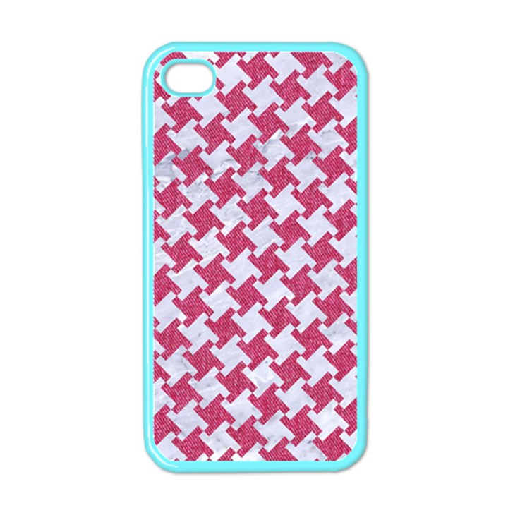 HOUNDSTOOTH2 WHITE MARBLE & PINK DENIM Apple iPhone 4 Case (Color)