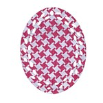HOUNDSTOOTH2 WHITE MARBLE & PINK DENIM Oval Filigree Ornament (Two Sides) Front