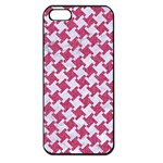 HOUNDSTOOTH2 WHITE MARBLE & PINK DENIM Apple iPhone 5 Seamless Case (Black) Front