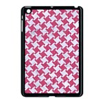 HOUNDSTOOTH2 WHITE MARBLE & PINK DENIM Apple iPad Mini Case (Black) Front