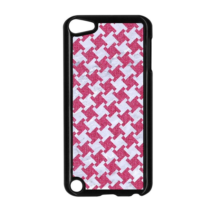 HOUNDSTOOTH2 WHITE MARBLE & PINK DENIM Apple iPod Touch 5 Case (Black)
