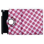 HOUNDSTOOTH2 WHITE MARBLE & PINK DENIM Apple iPad 3/4 Flip 360 Case Front