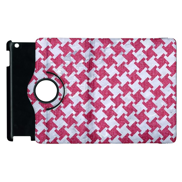 HOUNDSTOOTH2 WHITE MARBLE & PINK DENIM Apple iPad 3/4 Flip 360 Case