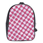 HOUNDSTOOTH2 WHITE MARBLE & PINK DENIM School Bag (XL) Front