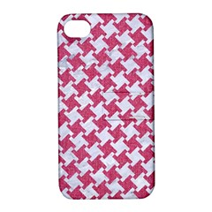 Houndstooth2 White Marble & Pink Denim Apple Iphone 4/4s Hardshell Case With Stand