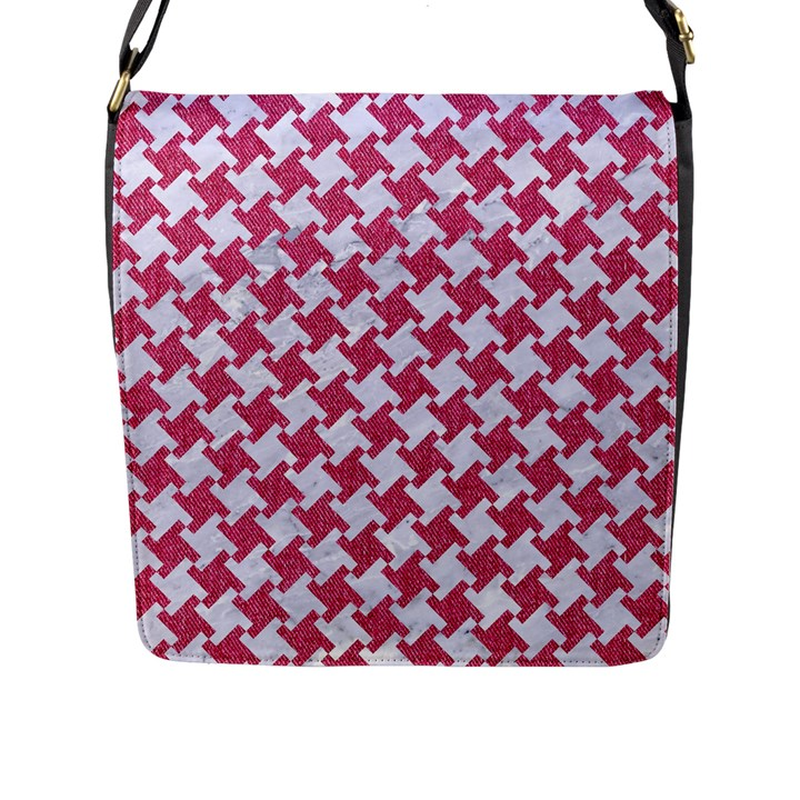 HOUNDSTOOTH2 WHITE MARBLE & PINK DENIM Flap Messenger Bag (L)