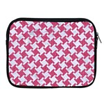 HOUNDSTOOTH2 WHITE MARBLE & PINK DENIM Apple iPad 2/3/4 Zipper Cases Front