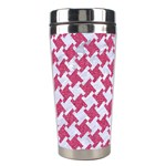 HOUNDSTOOTH2 WHITE MARBLE & PINK DENIM Stainless Steel Travel Tumblers Left