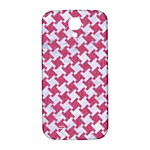 HOUNDSTOOTH2 WHITE MARBLE & PINK DENIM Samsung Galaxy S4 I9500/I9505  Hardshell Back Case Front