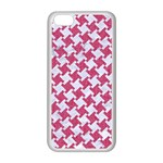 HOUNDSTOOTH2 WHITE MARBLE & PINK DENIM Apple iPhone 5C Seamless Case (White) Front