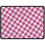 HOUNDSTOOTH2 WHITE MARBLE & PINK DENIM Double Sided Fleece Blanket (Large)  80 x60 Blanket Back