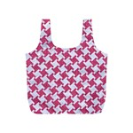 HOUNDSTOOTH2 WHITE MARBLE & PINK DENIM Full Print Recycle Bags (S)  Back