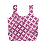 HOUNDSTOOTH2 WHITE MARBLE & PINK DENIM Full Print Recycle Bags (M)  Back