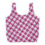 HOUNDSTOOTH2 WHITE MARBLE & PINK DENIM Full Print Recycle Bags (L)  Front