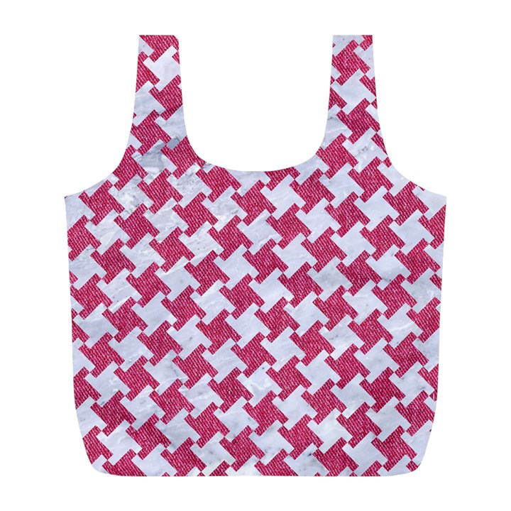 HOUNDSTOOTH2 WHITE MARBLE & PINK DENIM Full Print Recycle Bags (L)