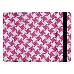 Houndstooth2 White Marble & Pink Denim Samsung Galaxy Tab Pro 12 2  Flip Case