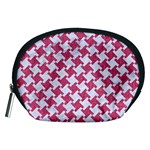 HOUNDSTOOTH2 WHITE MARBLE & PINK DENIM Accessory Pouches (Medium)  Front